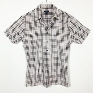 Burberry Plaid Short Sleeve Button Down Shirt L